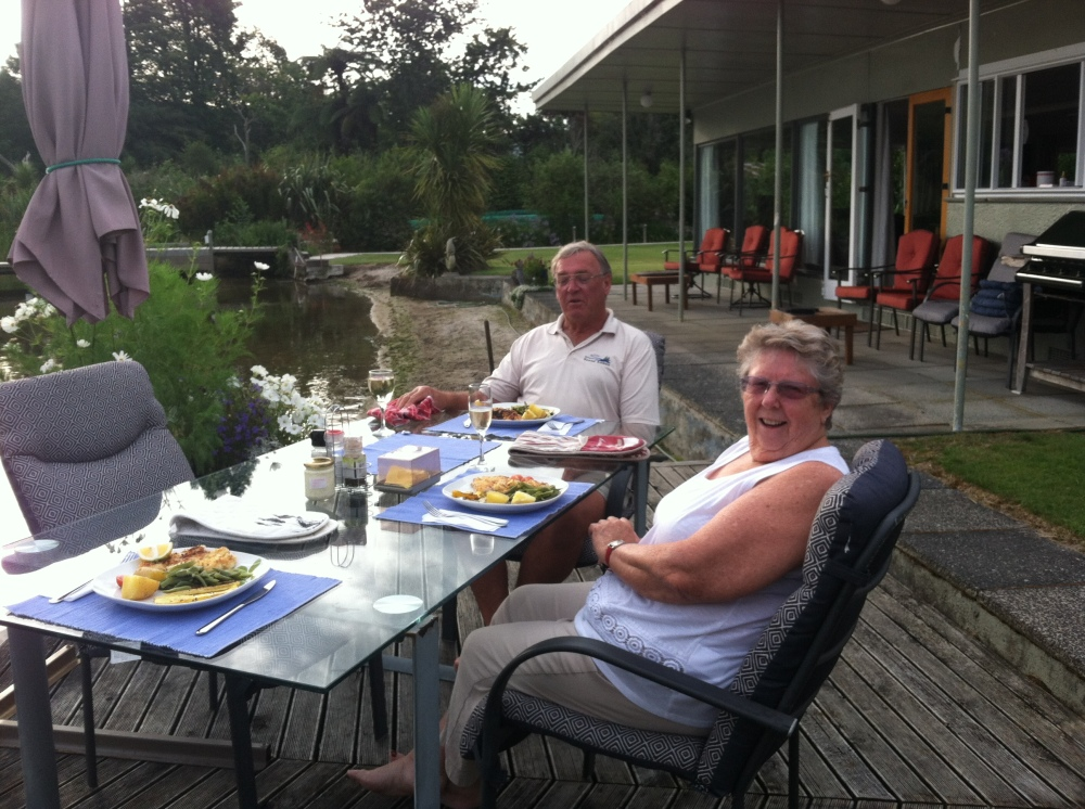 Enjoying another great meal prepared by Jenny