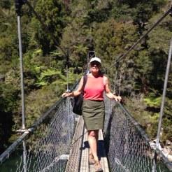 On the Falls River Swing Bridge.