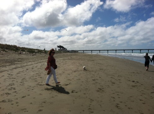 At the beach with Ashley and her dog Heetie.