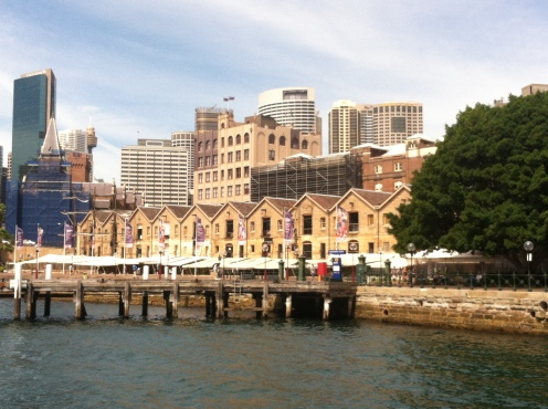 A harbor view of The Rocks, historic area whose original buildings were made mostly of local sandstone. The Rocks market is open every weekend.