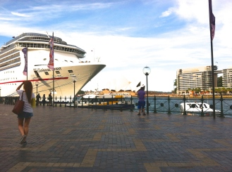The Carnival Spirit docked at the harbor promenade.