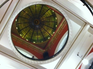 Looking up to the dome at the Queen Victoria Building.