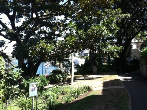 Entrance to Whiteley's Secret Garden with views of the harbor.
