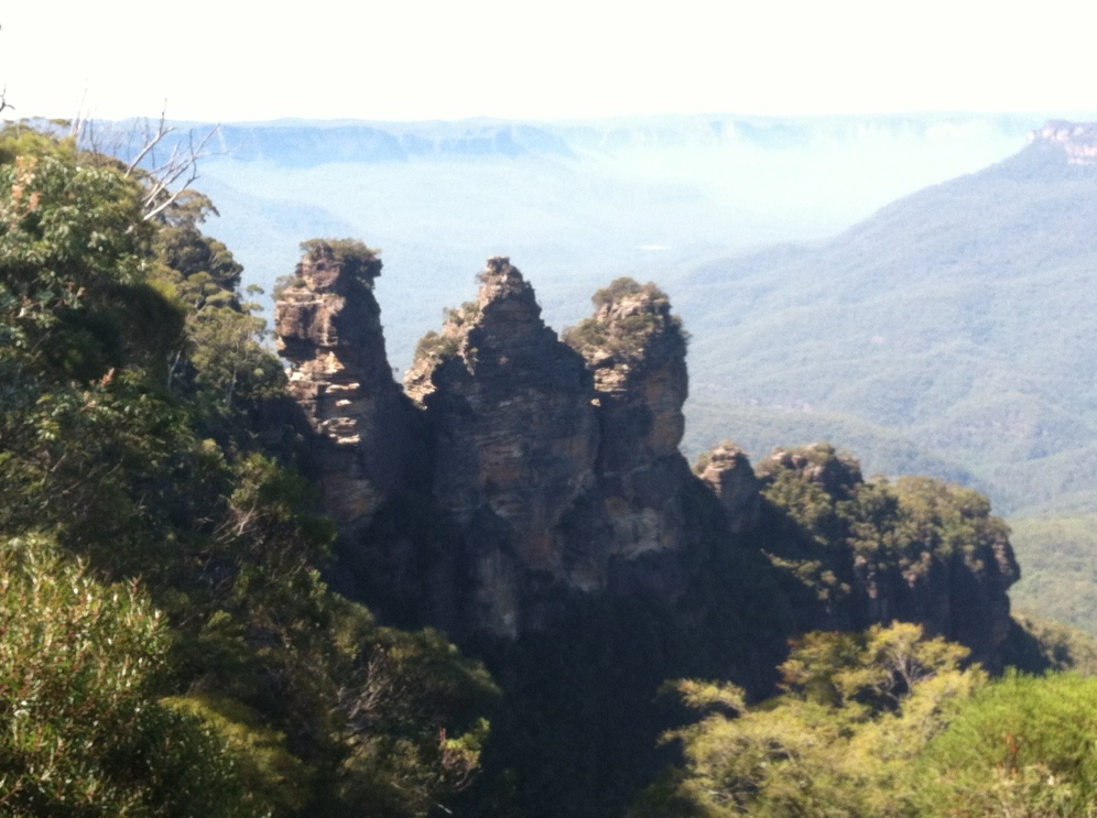 "A view of The ""Three Sisters"", an unusual rock formation representing three sisters, who according to Aboriginal legend were turned to stone."