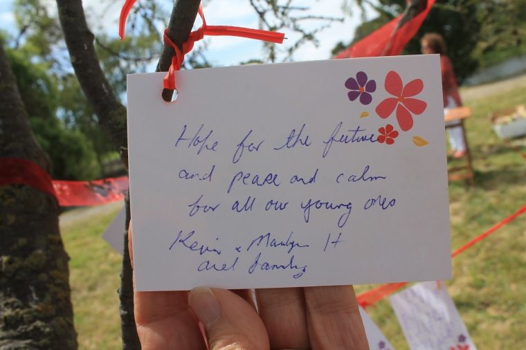 One of many reflections posted at The River of Flowers memorial.