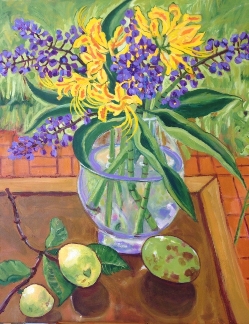 I did find time to paint! My still life painting inspired by Lani's purple ginger flowers, lemons, passion fruit, and yellow flowers I don't know the name of!