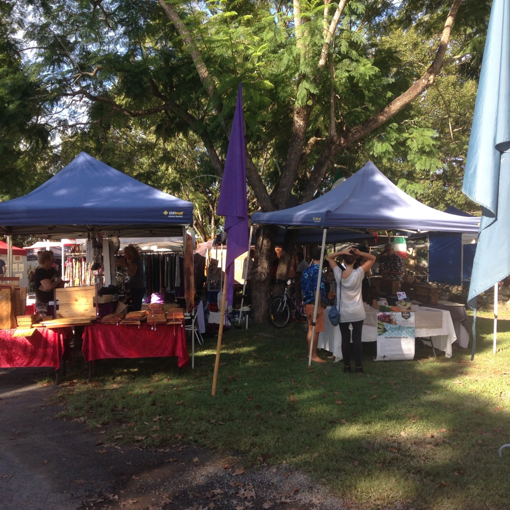 One of the many outdoor markets in the region. This one in Mullumbimby on a Saturday morning.