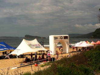 One of several entrances on the beach for the events.