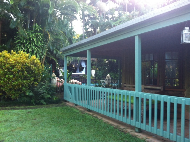 "A shot of ""The Retreat,"" a two bedroom one bath, beautifully appointed cottage looking on to the private pool."