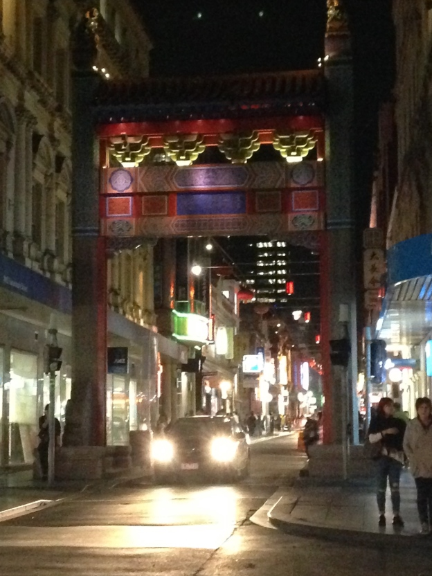Entrance to China Town on the corner of Swanston Street and Little Bourke Street.