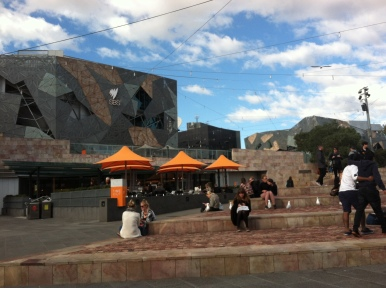 View of Federation Square, where there's always entertainment.