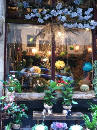 The window of the tiny, but top end flower shop, Pollon, on Flinder's Lane.