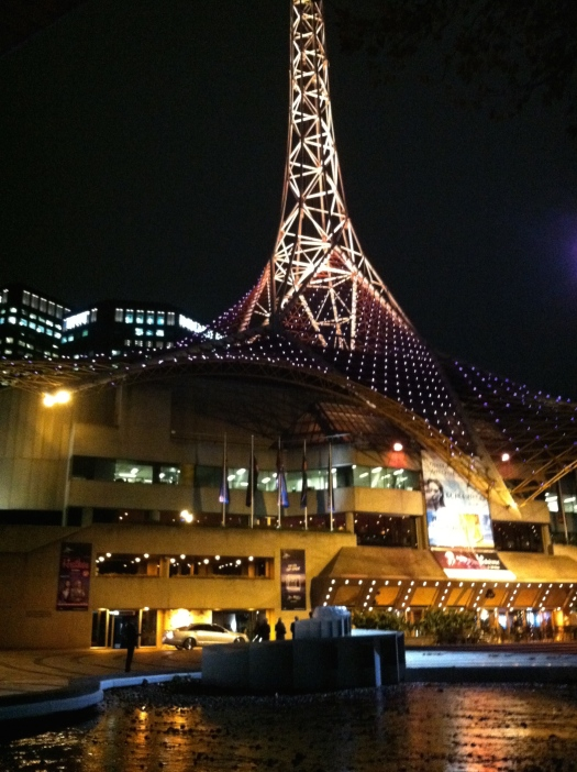Looking back to Southbank and the Arts Center with its beautiful spire crossing the river to the CBD.