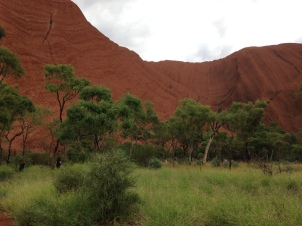 A walk around the base of Uluru is about 5.8 miles. It is higher than the Eiffel Tower or the Chrysler Building.