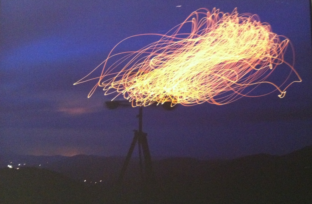 """Anemograph, Mt. KcKay. An anemograph is an instrument for measuring wind. Robbins's anemograph """"draws"""" with wind-powered light and slow photograph exposure!"""