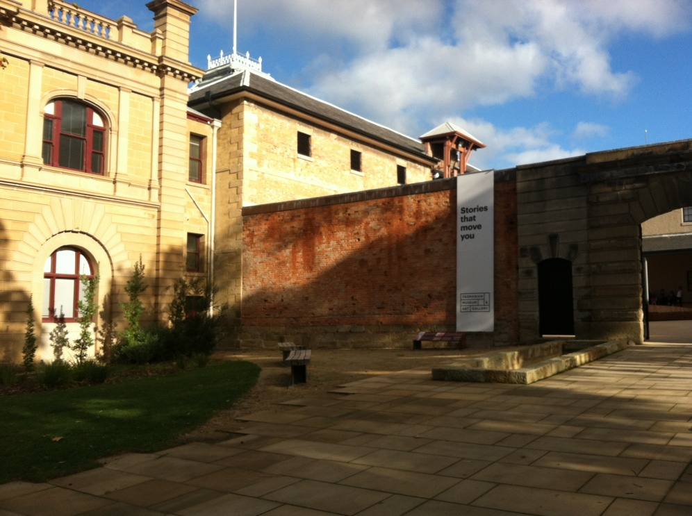 Entrance with partial view of the Tasmanian Museum and Art Gallery, Australia's second oldest museum is right in the CBD and a short walk from the harbor.