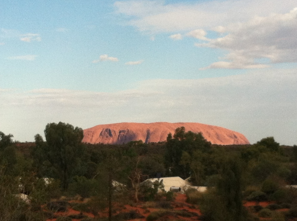 The best views of Uluru are at the Outback Pioneer Lodge's viewing station just behind the hostel dorms!