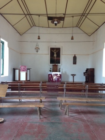 Inside the chapel at the Mission.