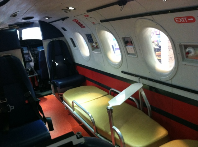 Interior view of one of the early planes operated by the Royal Flying Doctors Service.