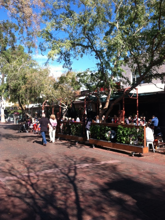 A view of Todd Mall, the town's focal point. Outdoor cafes, shops, and art galleries are everywhere.