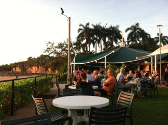 Having drinks at the Darwin Boat Club and enjoying the view.