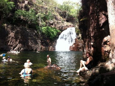 Florence Falls. Hidden around the corner to the right is a twin waterfall. That's Nan on the right. No crocodiles here!