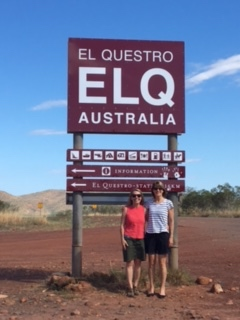 Gayl and I in front of the turn off sign to El Questro on our way to Zebedee Springs for the morning.