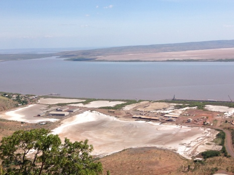 The view of Wyndham, the salt flats, and Gulf from the Five Rivers Lookout in Wyndham. The Forrest, King, Durak, Pentecost, and Ord Rivers flow in the Cambridge Gulf.
