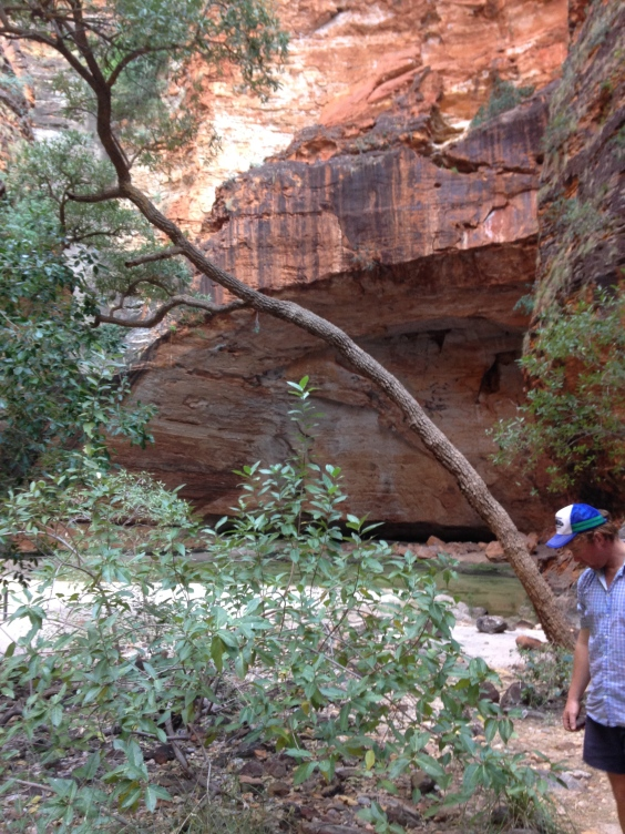 Walking into Cathedral Gorge. Joel, on the right.