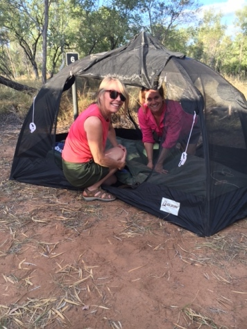 "Victoria helping me set up my ""mozzie dome and swag"" at the Bungle Bungles campground. The mozzie dome allows for great star/night sky gazing!"
