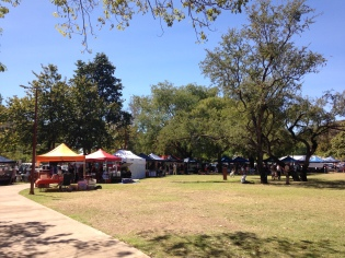 A view of the park in town and the Saturday morning market. Right around the corner from my place.