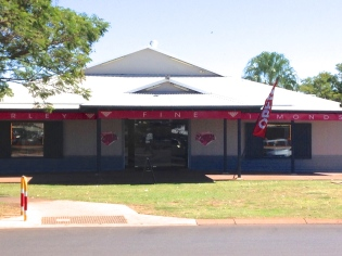 Local business Kimberley Find Diamonds, home to the rare pink diamond mined only at the Argyle Diamond mine nearby. They are very expensive!