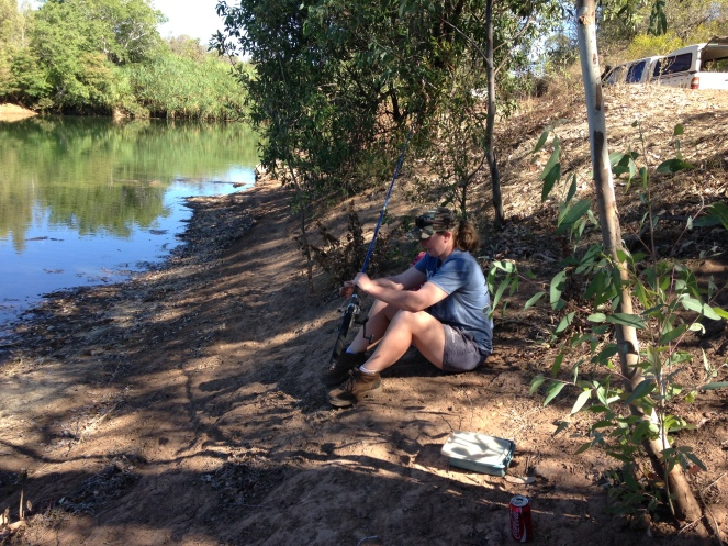 Sarah pictured here took me fishing on Sunday afternoon on the East Bane River for barramundi, a fresh water, white fish, after being dropped off on my first day.