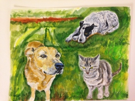 A painting I did for station manager, Emily and her husband Henry of their pets.
