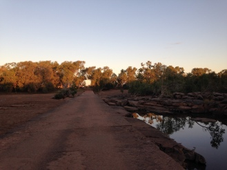 Driving over the concrete causeway into the Mary Pool campground just west of Halls Creek on our first night.