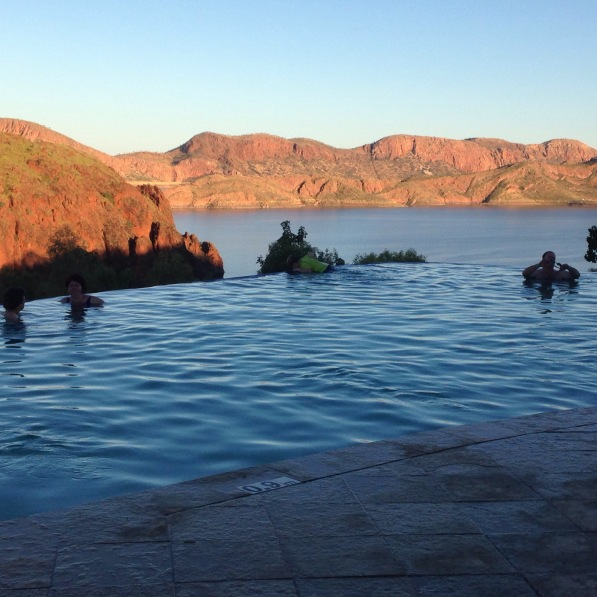 Looking out over Lake Argyle from the infinity pool at the campground.