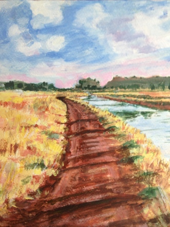 My acrylic painting of the irrigation channel.
