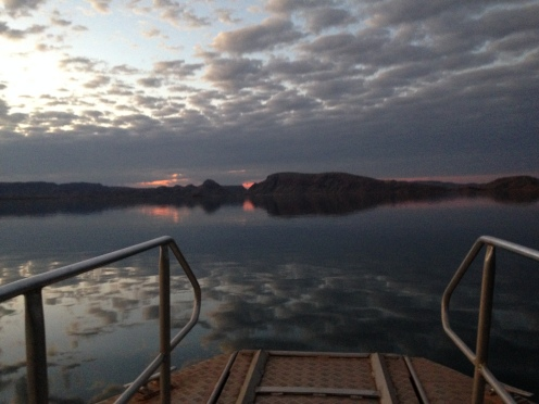 Perfect weather and sunset for a swim in Lake Argyle. Clean and warm.