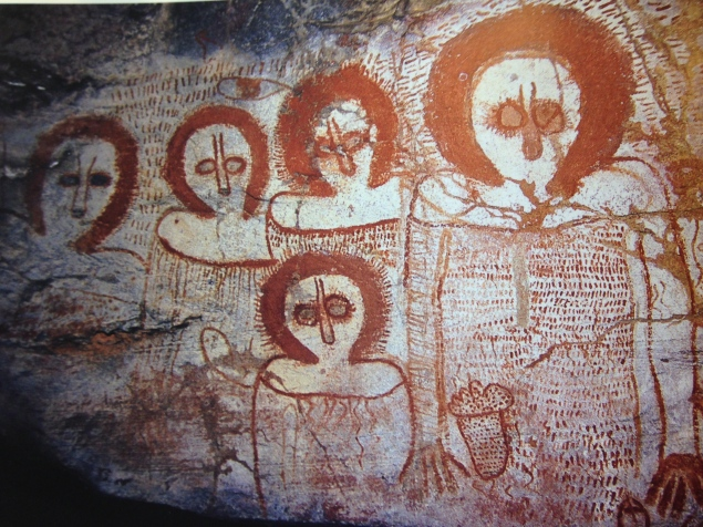"""Winjinas"" cave paintings in the northwestern region of the Kimberley. Winjinas were ""sky beings"" or ""spirits from the clouds "" who came down from the Milky Way during Dreamtime and created earth and all its inhabitants. They look a little like aliens."
