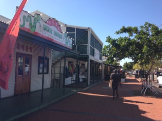 The main street of Chinatown in Broome. Lots of shops and restaurants line the streets including expensive showrooms offering beautiful cultured pearls.