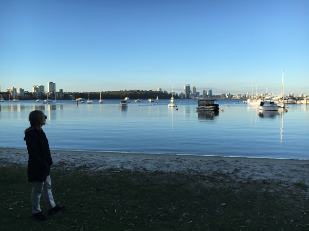 A view from Matilda Bay to downtown Perth.