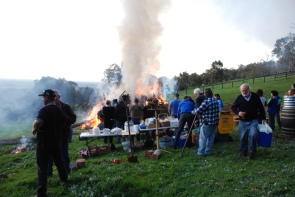 Gathering for a bonfire/cookout party outside of Perth.
