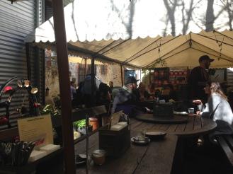 Enjoying coffee at Moore & Moore Cafe, Freemantle.