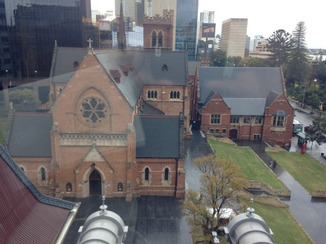 A view of St. George's Cathedral, the Mother Church of the Anglican Diocese of Perth, from the Treasury Building.