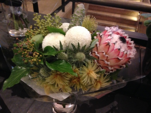 Flower arrangement of Western Australia wild flowers including the Banksia on the right featured at the shop, Flowers by Aneura at the Treasury.