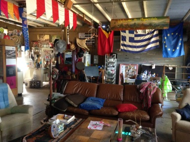 "Inside the ""Shed"" at Tom's farm called Myaravale which boasts 160 acres of natural bush located in Keysbrook about an hour south of Perth. (Kind of a man cave according to Gayl)"