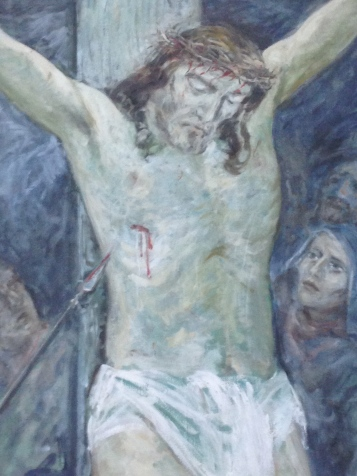 Detail of one of the Stations of the Cross series at the Chapel painted by well know Australian painter, Wim Boissevain when he was just twenty-two years old.