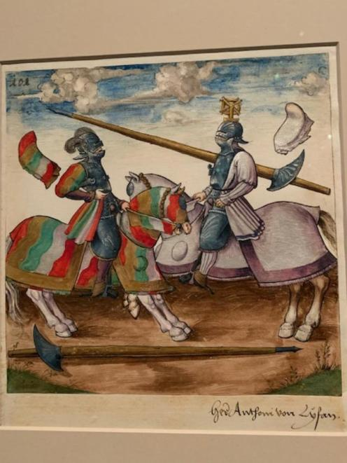 Joust of War. Date 1512-15. Gouache with gold and silver highlights over pen, pencil, and lead point on paper.